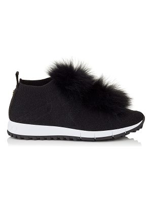 Jimmy Choo NORWAY Black Knit and Lurex Trainers with Fur Pom Poms