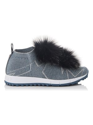 Jimmy Choo NORWAY Dusk Blue Knit and Steel Mix Lurex Trainers with Fur Pom Poms