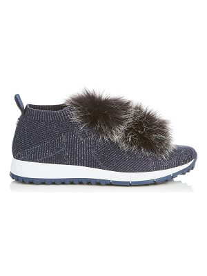 Jimmy Choo NORWAY Navy Knit and Lurex Trainers with Fur Pom Poms
