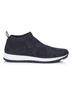 Jimmy Choo NORWAY Navy Knit and Lurex Trainers