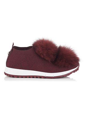 Jimmy Choo NORWAY Red Knit and Lurex Trainers with Red Fur Pom Poms