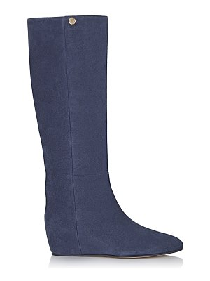 Jimmy Choo OLIVIA Navy Suede Knee High Boots
