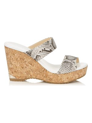 Jimmy Choo PARKER 100 Natural Nubuck Snake Printed Leather Wedges