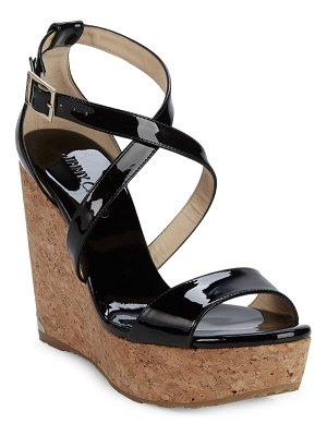Jimmy Choo Portia Patent Leather Platform Wedge Sandals