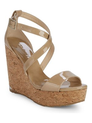 Jimmy Choo Portia Patent Leather Wedge Sandals/5""