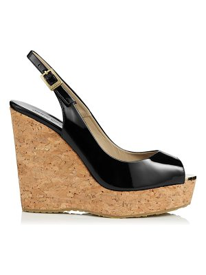 Jimmy Choo PROVA Black Patent Leather Cork Wedge Sandals