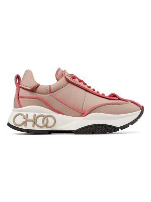 Jimmy Choo RAINE Ballet Pink and Red Padded Nylon trainers