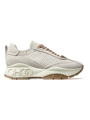 Jimmy Choo RAINE Linen Perforated Suede Lace-Up Trainers