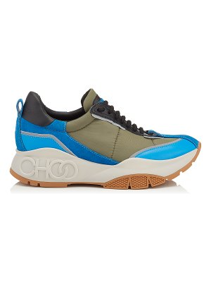 Jimmy Choo RAINE Sky Mix Leather and Fabric Lace Up Sneakers