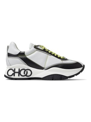 Jimmy Choo RAINE White and Black Nappa Leather Lace-Up Trainers