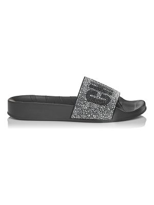Jimmy Choo REY/F Black Mix Crystals and Rubber Slides