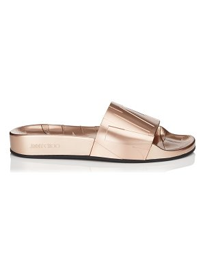 Jimmy Choo REY/F Tea Rose Metallic Rubber Slides