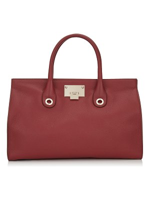 Jimmy Choo RILEY Red Grainy Calf Leather Tote Bag