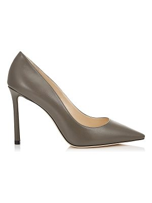 Jimmy Choo ROMY 100 Dark Grey Kid Leather Pointy Toe Pumps