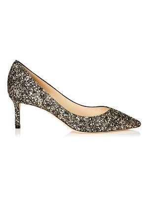 Jimmy Choo ROMY 60 Gold Mix Star Coarse Glitter Fabric Pointy Toe Pumps