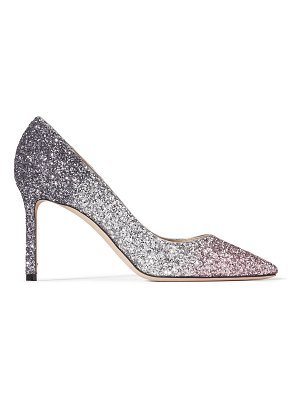 Jimmy Choo ROMY 85 Ballet Pink, Silver and Anthracite Triple Glitter Dégradé Pointed Pumps
