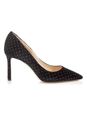 Jimmy Choo ROMY 85 Black Glitter Spotted Velvet Pointy Toe Pumps