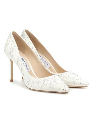 39c0df79c37a Jimmy Choo Romy 85 Ivory Satin Pointy Toe Pumps With Crystal Tiara ...