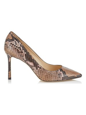 Jimmy Choo ROMY 85 Nutmeg and Rosewater Dégradé Painted Python Pointy Toe Pumps