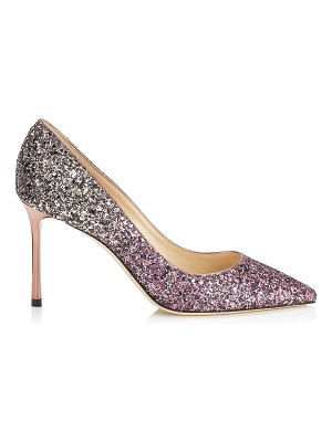 Jimmy Choo ROMY 85 White Sand and Candyfloss Party Coarse Glitter Dégradé Pointy Toe Pumps