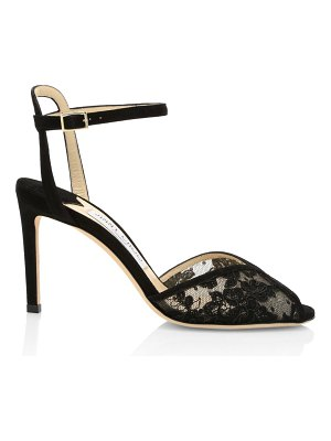Jimmy Choo sacora peep-toe lace-trimmed suede sandals
