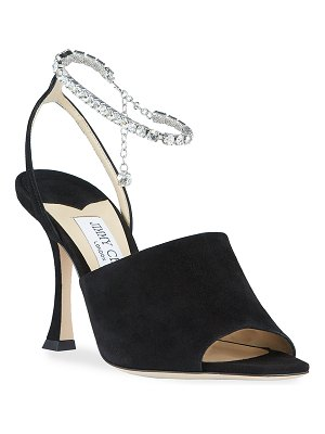 Jimmy Choo Sae Suede Crystal-Chain Sandals
