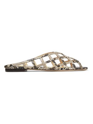 Jimmy Choo SAI FLAT Natural Snake-Printed Leather Caged Flats