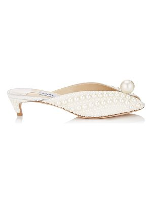 Jimmy Choo SAMANTHA 35 White Satin Mules with All Over Pearls