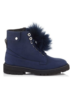 Jimmy Choo The Voyager: SNOW/F Navy Nubuck Leather Ankle Boots with Heated Soles