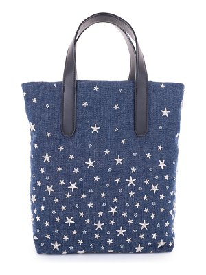 Jimmy Choo SOFIA N/S Navy Silver and Light Blue Denim Fabric Tote Bag with Crystal Star Detailing