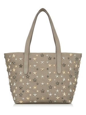 Jimmy Choo SOFIA/S Light Khaki Pearlized Grainy Leather Tote Bag with Metallic Mix Multimetal Stars