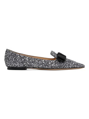 Jimmy Choo ssense exclusive  and black star coarse glitter gala flats