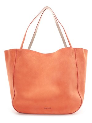 Jimmy Choo STEVIE TOTE Reversible Chilli and Platinum Suede and Nappa Metallic Nappa Tote Bag