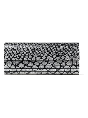 Jimmy Choo SWEETIE Black and Silver Scale-Print Fine Glitter Acrylic Clutch Bag