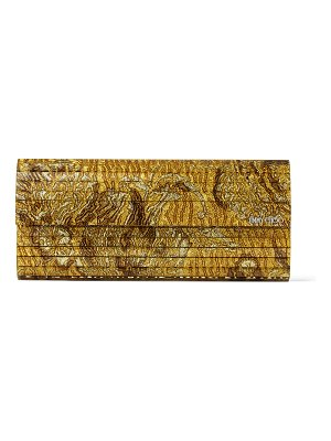 Jimmy Choo SWEETIE Gold Brocade Acrylic Clutch Bag
