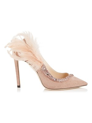 Jimmy Choo TACEY 100 Ballet Pink Suede Pointy Toe Pumps with Crystals and Feathers