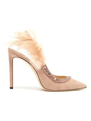 Jimmy Choo Tacey crystal-embellished suede pumps