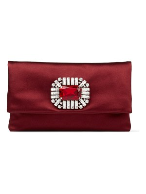 Jimmy Choo TITANIA Bordeaux Satin Clutch Bag