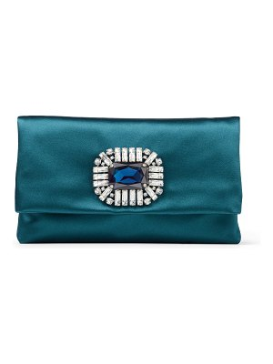Jimmy Choo TITANIA Dark Teal Satin Clutch Bag