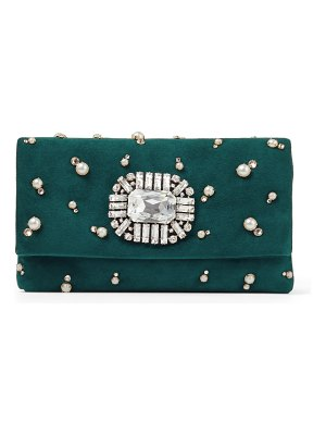 Jimmy Choo TITANIA Dark Teal Suede Clutch Bag with Crystal and Pearl Embroidery