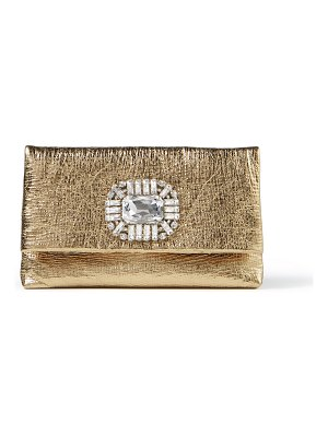Jimmy Choo TITANIA Gold Metallic Leather Clutch Bag with Jewelled Centrepiece