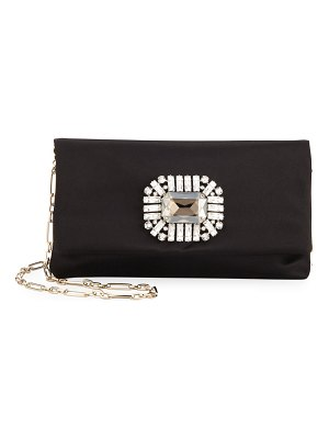 Jimmy Choo Titania Jeweled Satin Clutch Bag
