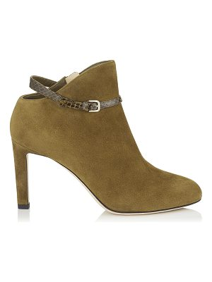 Jimmy Choo TOR 85 Olive Suede and Elaphe Booties