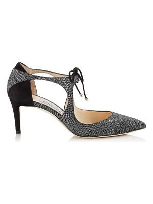 Jimmy Choo VANESSA 65 Black Canvas Leather and Suede Pointy Toe Pumps