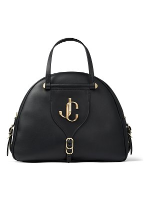 Jimmy Choo VARENNE BOWLING/M Black Calf and Vacchetta Leather Bowling Bag with Gold JC Logo