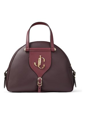 Jimmy Choo VARENNE BOWLING/M Bordeaux Calf Leather and Vacchetta Bowling Bag with JC logo