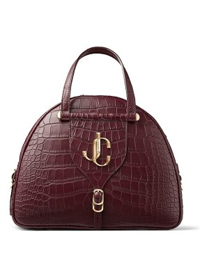 Jimmy Choo VARENNE BOWLING/M Bordeaux Crocodile Bowling Bag with JC Logo