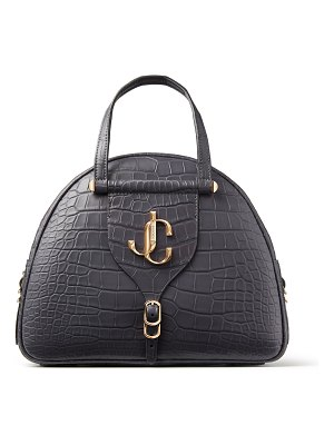 Jimmy Choo VARENNE BOWLING/M Dusk Crocodile Bowling Bag with JC Logo