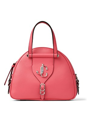 Jimmy Choo VARENNE BOWLING/S Bubblegum-Pink Calf and Vacchetta Leather Bowling Bag with Gold JC Logo