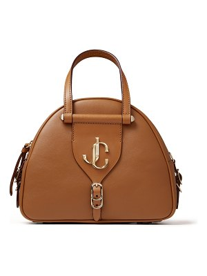 Jimmy Choo VARENNE BOWLING/S Cuoio Calf Leather and Vacchetta Bowling Bag with JC logo